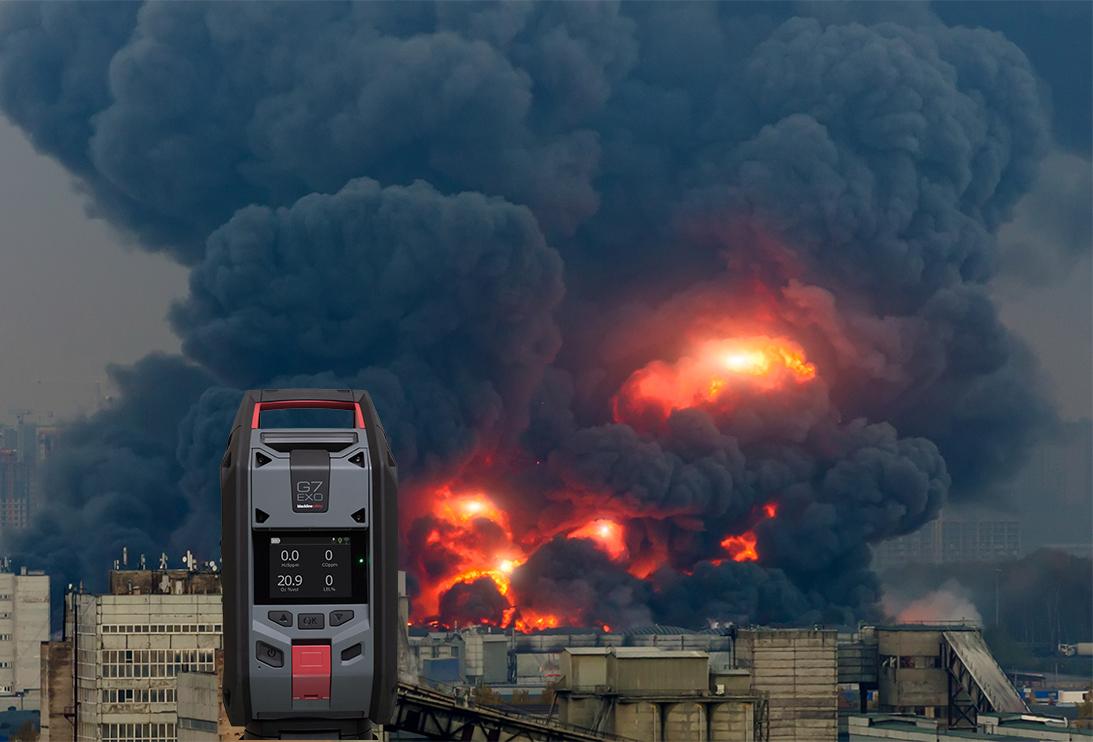 Incendie industriel avec moniteur de zone pour la détection de gaz